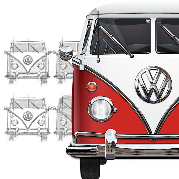 Volkswagen Type 2 Red And White Volkswagen T1 Samba Bus Over Vintage Sketch T Shirt For Sale By Serge Averbukh