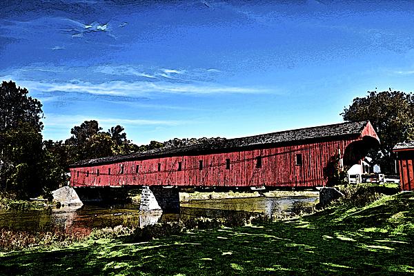 Maria Keady - West Montrose Covered Bridge Pop Art