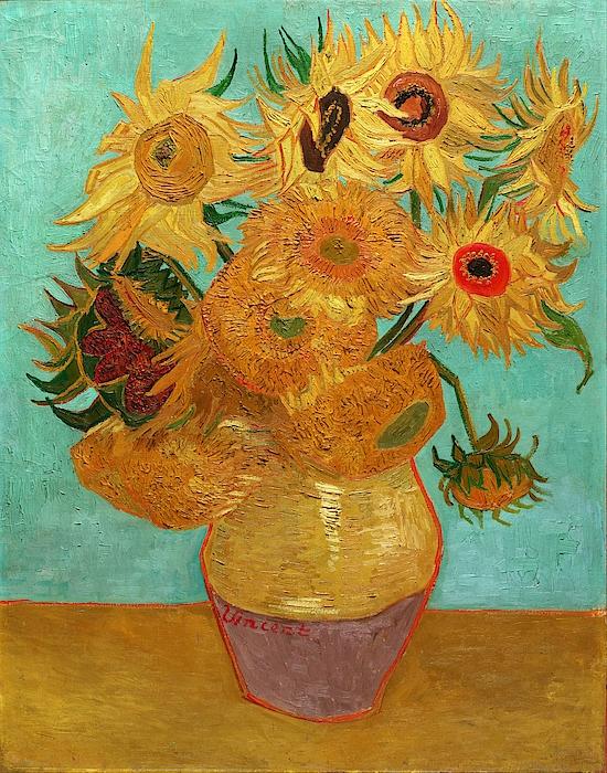 Vase With Twelve Sunflowers Painting
