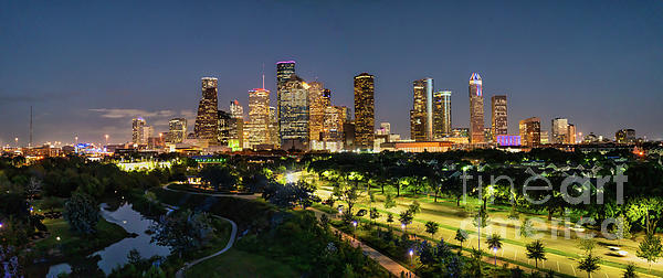 Bee Creek Photography - Tod and Cynthia - Aerial Houston Skyline Night Pano-8912