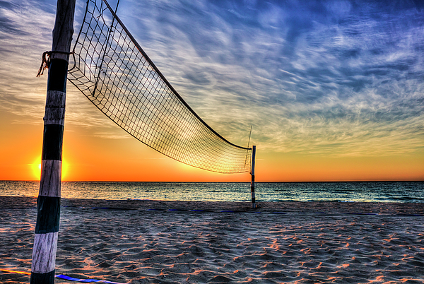 Paul Thompson - Beach Volleyball Net At Sunset