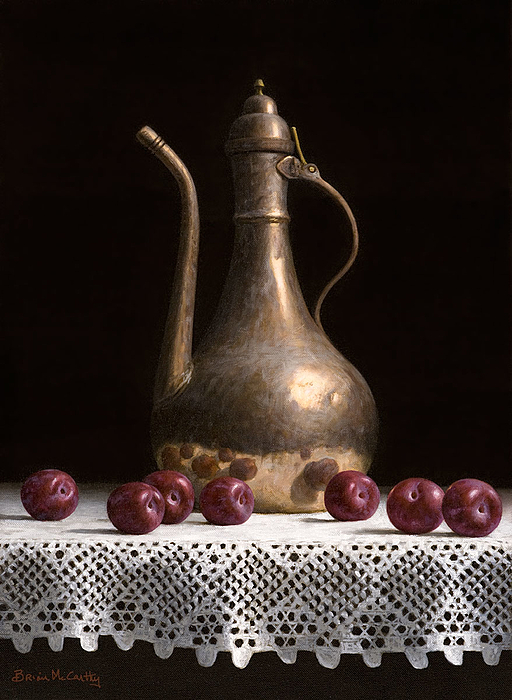 Brian McCarthy - Still Life With Coffee Copper Pot and Plums