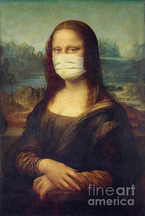 Delphimages Photo Creations - Mona Lisa wearing a mask