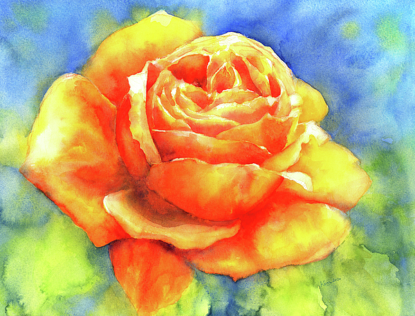 Karen Kaspar - Perfume of a rose watercolor painting