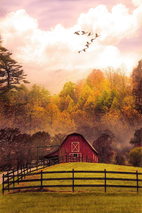 Debra and Dave Vanderlaan - Red Barn in the Autumn Mist