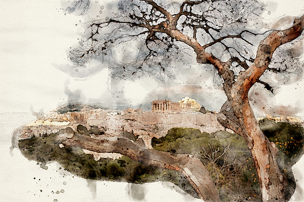 Cassi Moghan - Athens Acropolis Cityscape Digital Watercolor