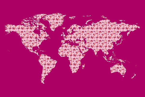 Watercolor Silhouette World Map Colorful Png Xxx Pink Painting
