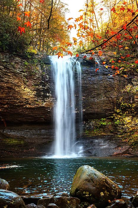 Debra and Dave Vanderlaan - Waterfall in Autumn Cloudland Canyon