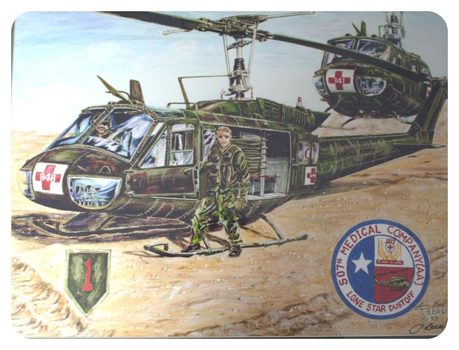 Drawing Drawing -    Lone Star Dustoff 507 Th Medivac by James Beal