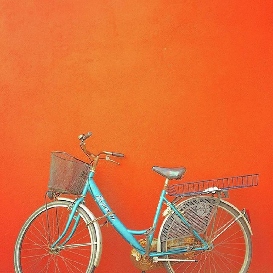 Bike Photograph - Blue Bike In Burano Italy by Anne Hilde Lystad