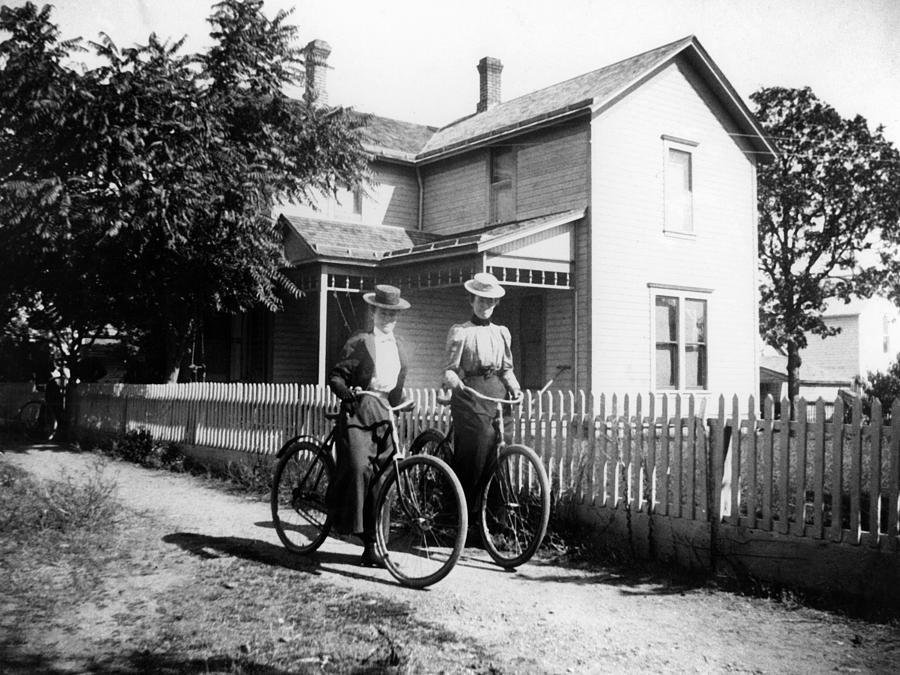 1900s photograph 1900s archive bicycle black white couple fence by mark goebel