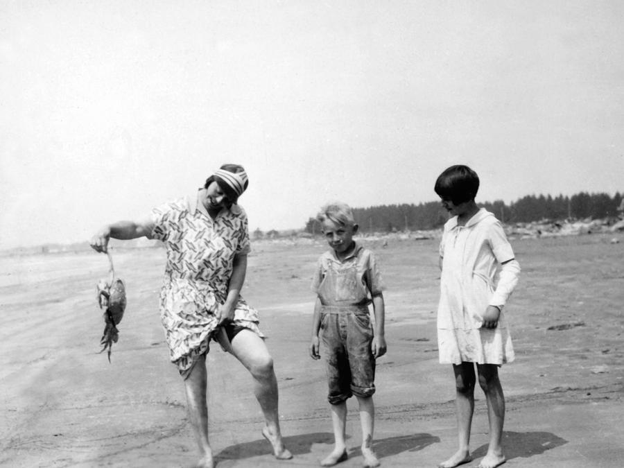 1920s Animal Archive Beach Black White Boy Kids Photograph By Mark