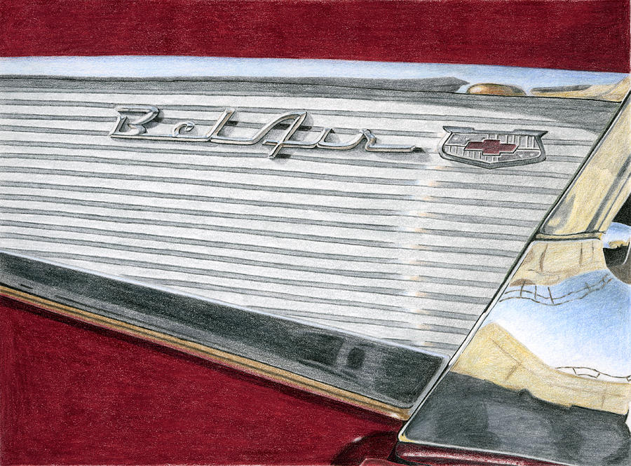 Classic Drawing -  1957 Chevrolet Bel Air Convertible by Rob De Vries