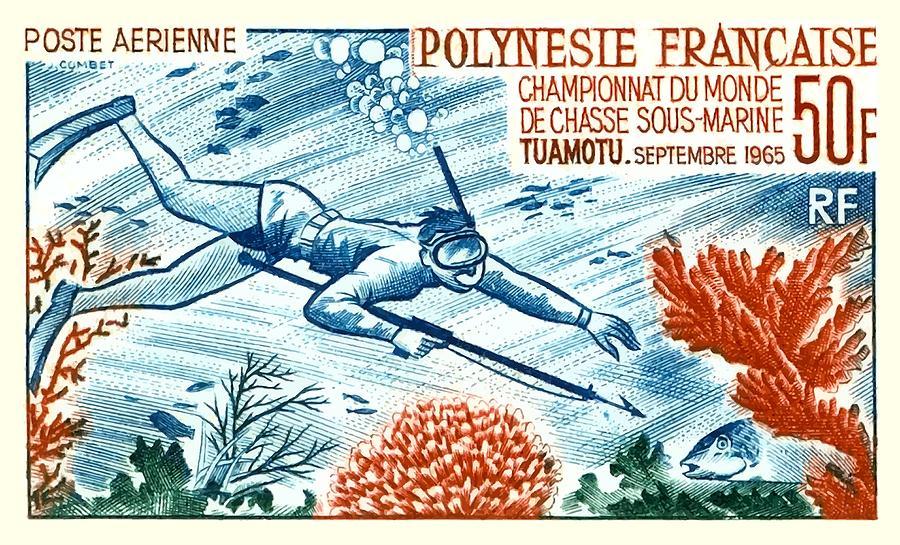 Tahiti Digital Art -  1965 French Polynesia Spearfishing Postage Stamp by Retro Graphics