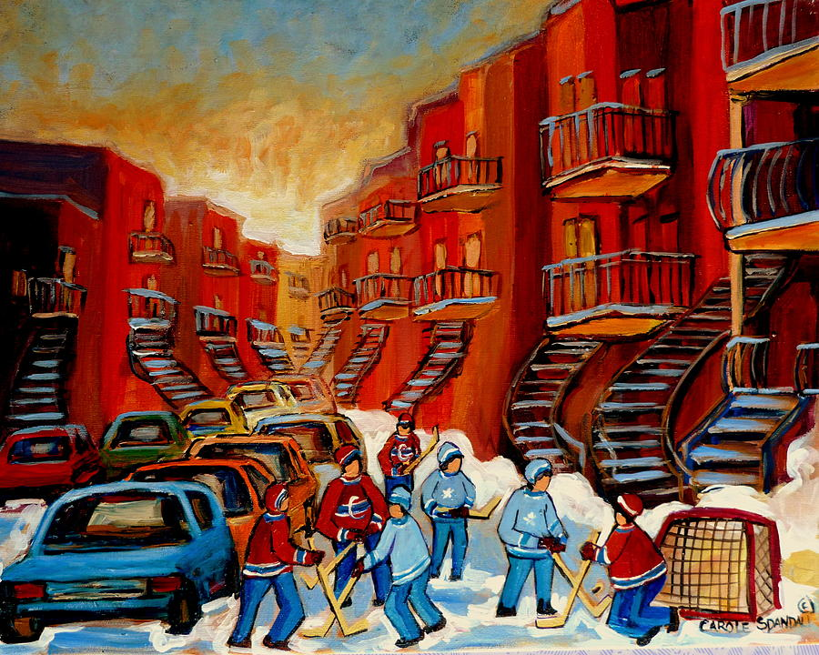 Hockey Painting -  A Beautiful Day For The Game by Carole Spandau