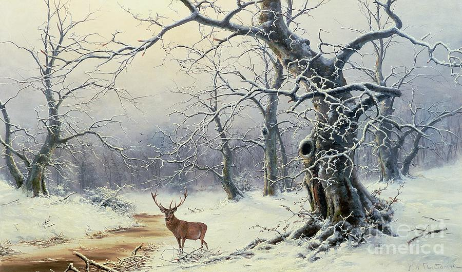 Christiansen Painting -  A Stag In A Wooded Landscape  by Nils Hans Christiansen