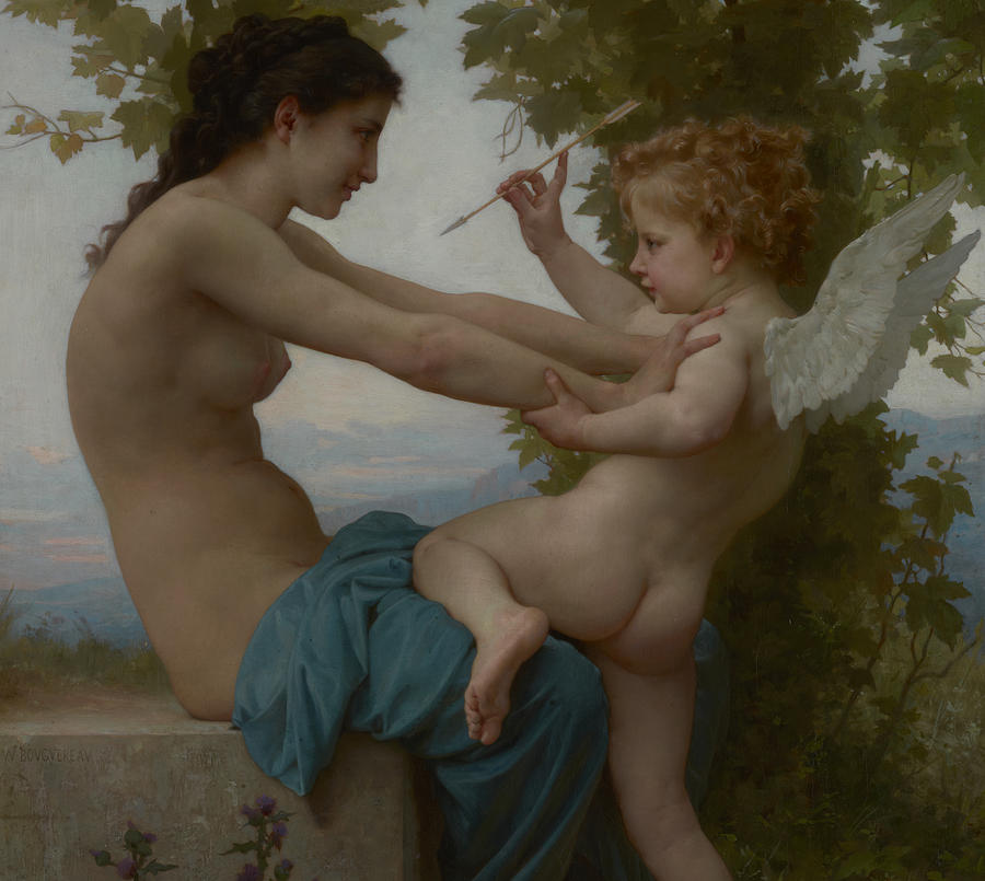 Eros Painting -  A Young Girl Defending Herself Against Eros by William Adolphe Bouguereau