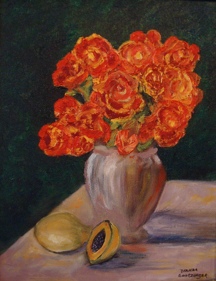 Roses Painting -  Abstract Red Roses by Brenda Goetzinger