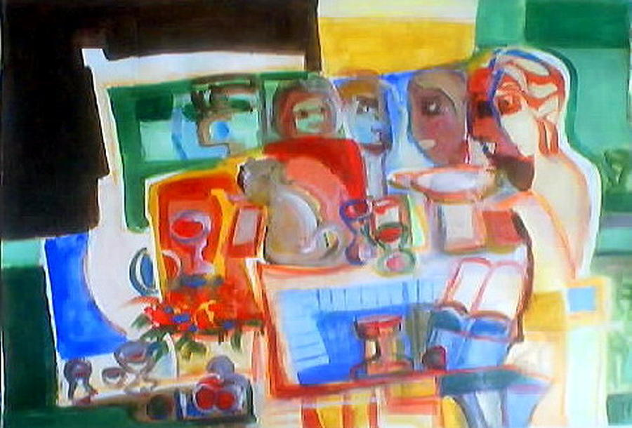 Abstract Artwork Painting -   Around The Table  by Therese AbouNader