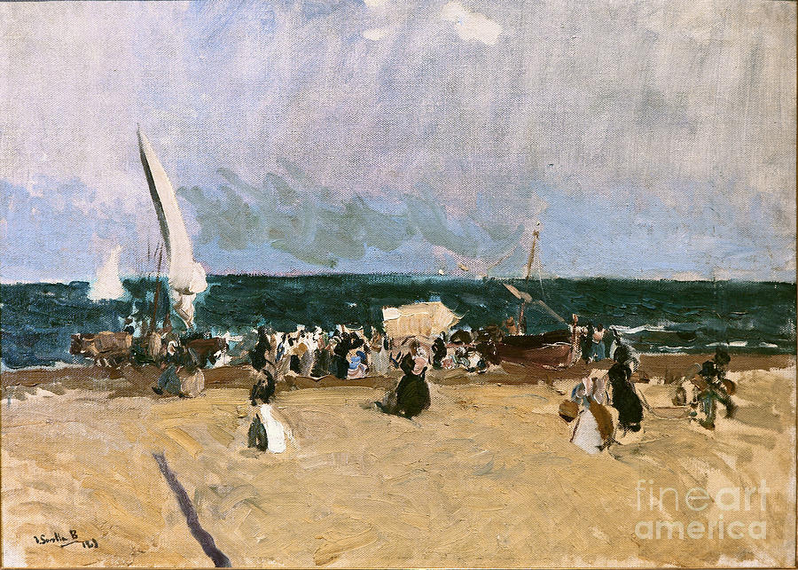 At The Beach Painting -  At The Beach Valencia by Celestial Images