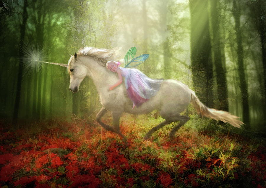 Unicorn Digital Art -  Autumns Flight by Trudi Simmonds
