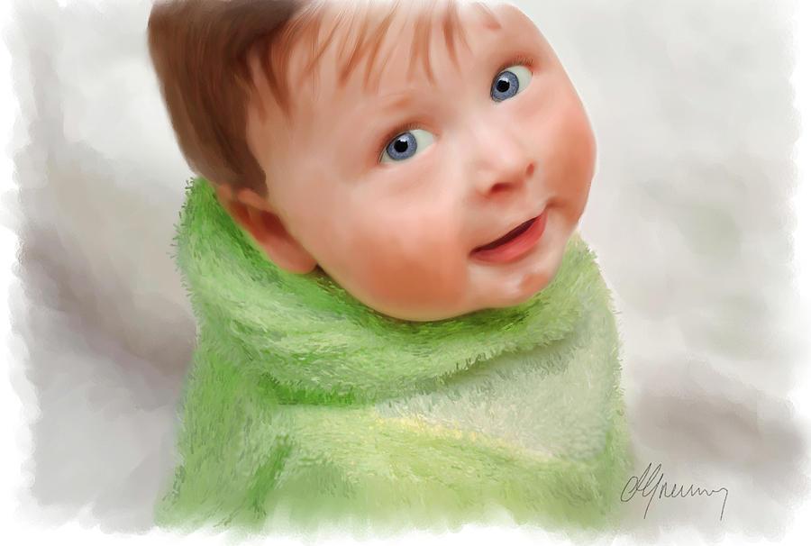 Family Digital Art -  Baby Blue Eyes by Michael Greenaway