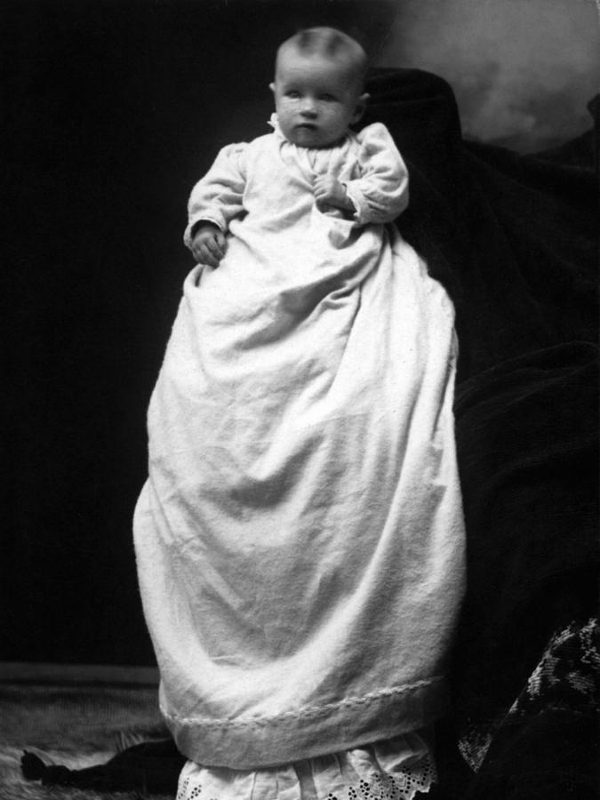Baby photograph baby in long dress 1903 black white 1900s by mark goebel