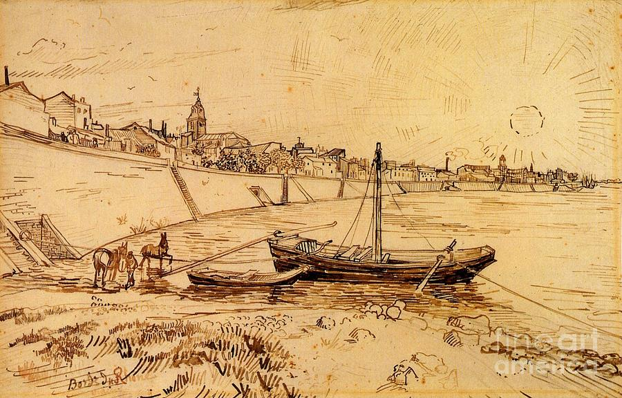 Vincent Van Gogh Painting -  Bank Of The Rhone At Arles by Celestial Images