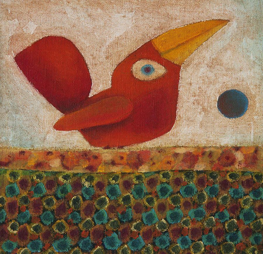 Red Bird Painting -  Barba Ruiva - Red Beard by Rogerio Dias
