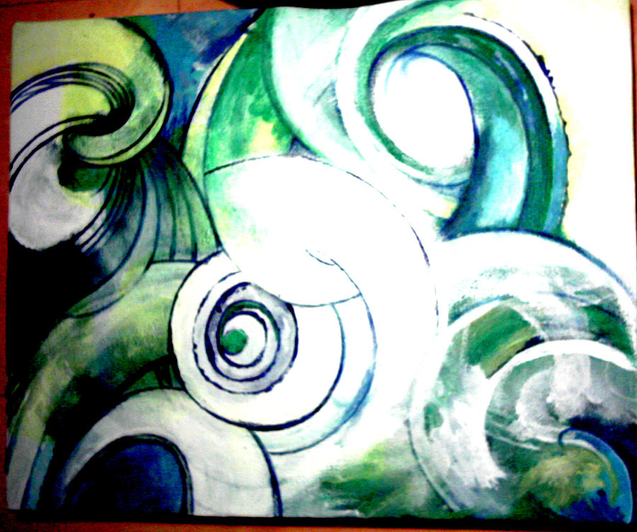 Birds Spiral Painting by Reka Kiss