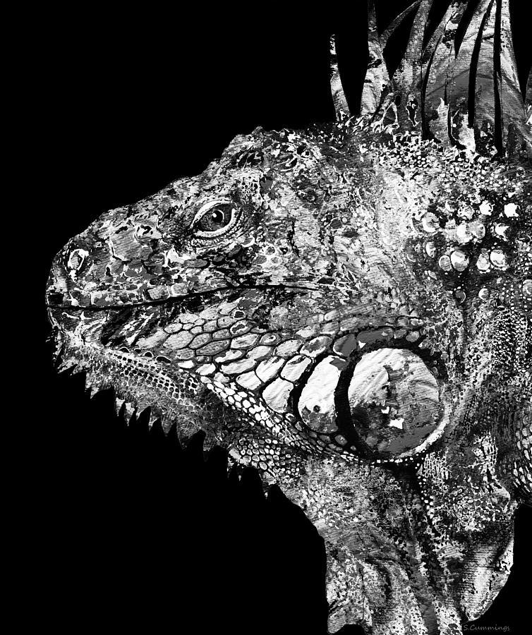 Iguana Painting -  Black And White Iguana Art - One Cool Dude 2 - Sharon Cummings by Sharon Cummings