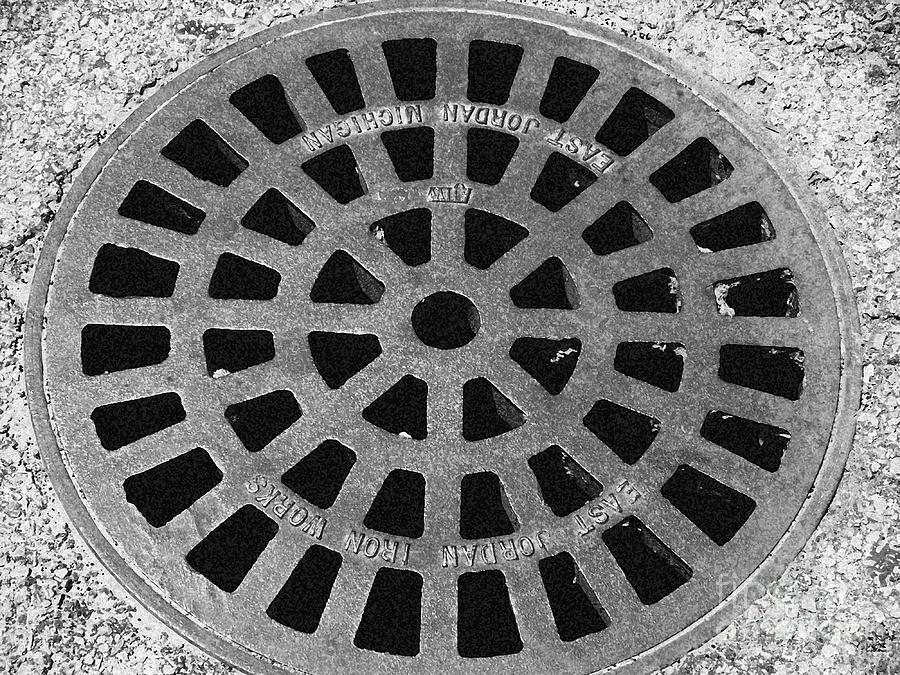 Black And White Photograph -  Black And White Manhole Cover by Emily Kelley