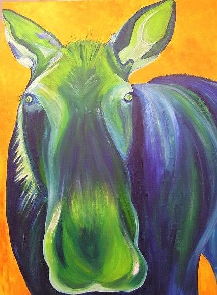 Moose Painting -  Bleu Meus by Amy Reisland-Speer