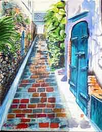 Blue Door Painting by Katalin Papp