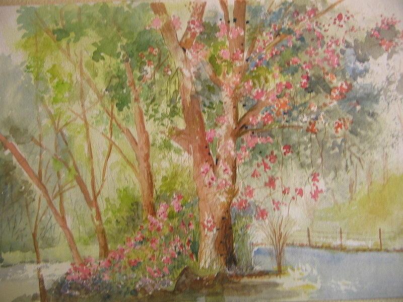 Landscape Painting -  Bouganvelia On A Tree by Subhash Kulkarni
