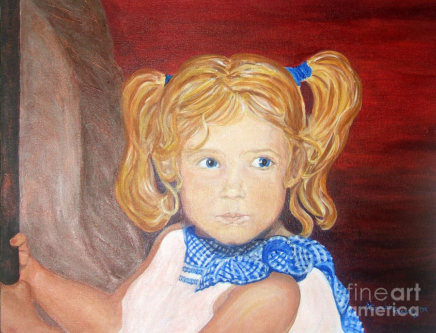 Portrait Painting -   Brends First Merry Go Round Ride by Nancy Rucker