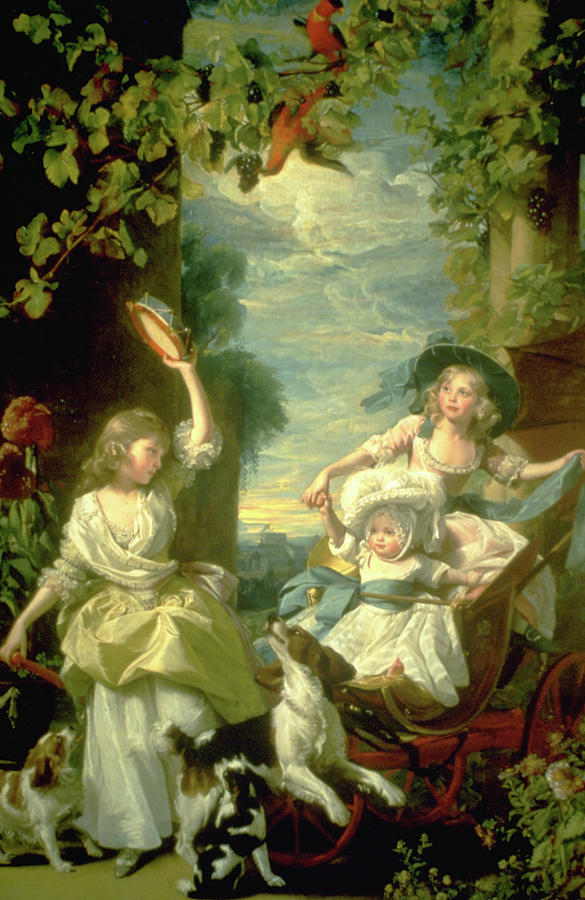 Young Women Painting -  Bucoloic Painting By Honore Fragonard by Carl Purcell