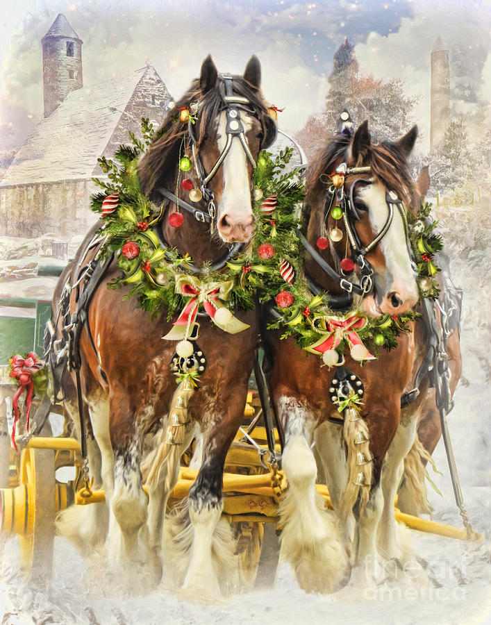 Christmas Clydesdales Digital Art