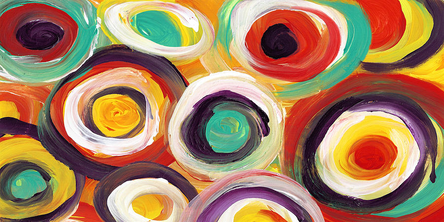Colorful Bold Circles Panoramic 2 Painting