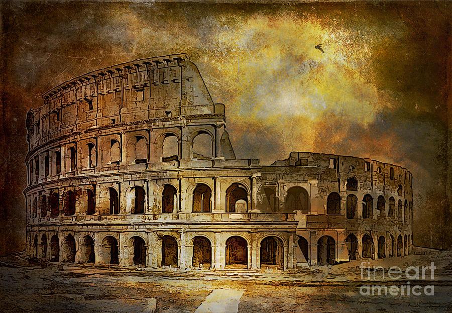Rome Digital Art -  Colosseum by Andrzej Szczerski
