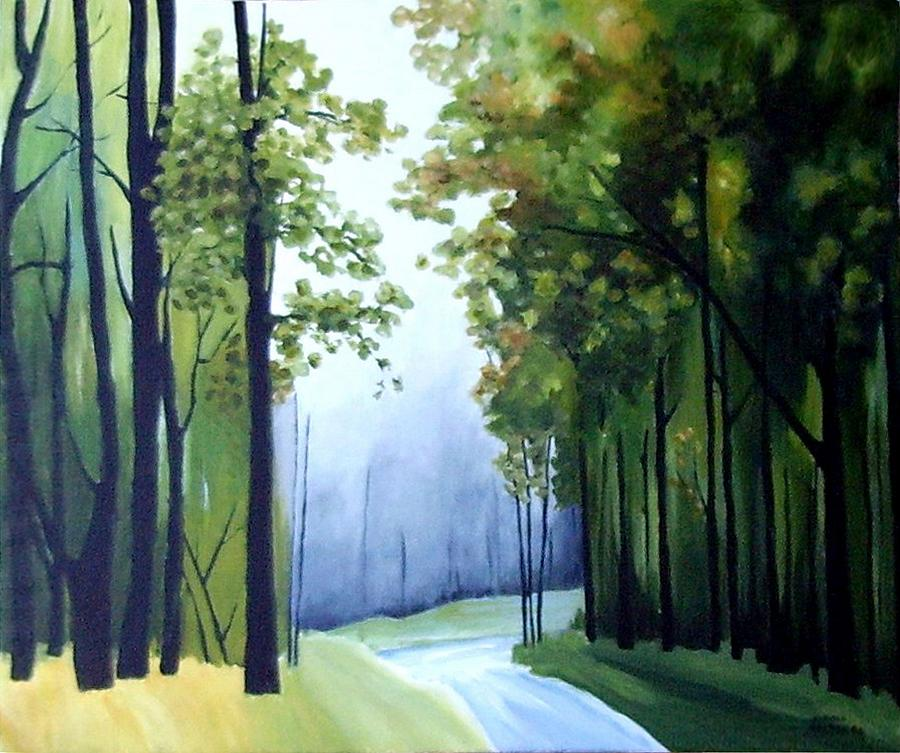 Forest Painting -  Country Road by Carola Ann-Margret Forsberg