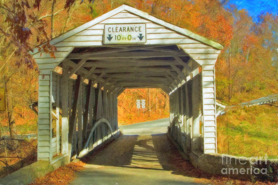 Covered Bridge Watercolor  Photograph by David Zanzinger