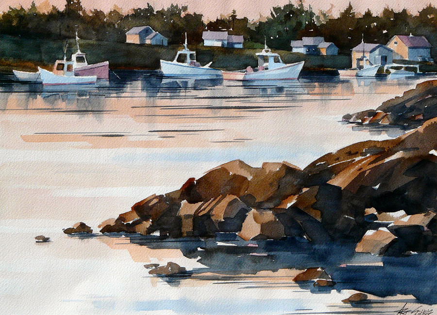 Docked Boats Painting -  Docked At Dusk by Art Scholz