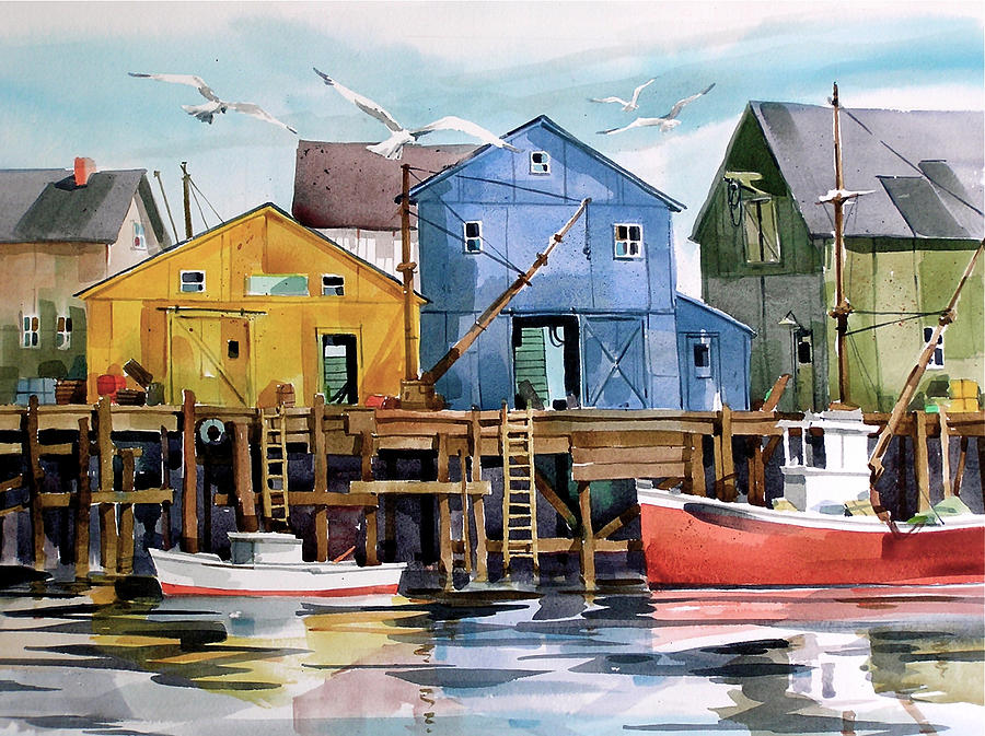 Dockside   Painting by Art Scholz
