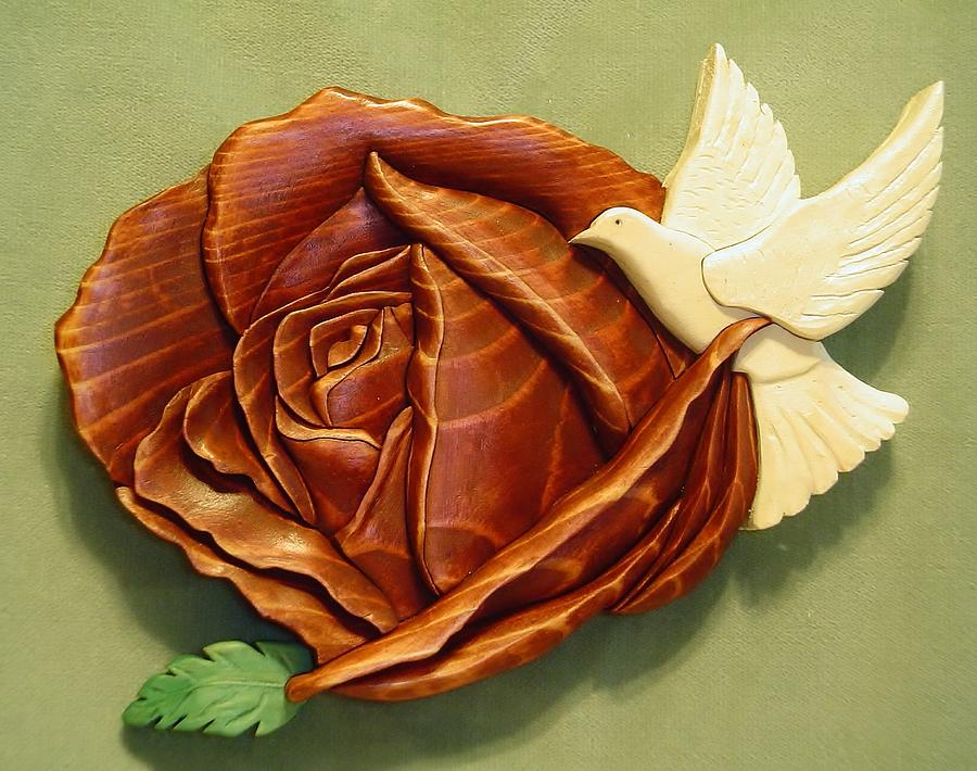 Intarsia Sculpture -  Dove On A Rose by Russell Ellingsworth