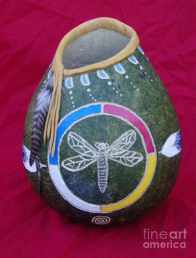 Dragon Fly Painting -  Dragon Fly- Carved Tsalagi Gourd by Magenta Marie Spinningwind