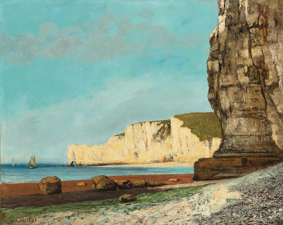 Gustave Courbet Painting -  Etretat. The cliffs by Gustave Courbet