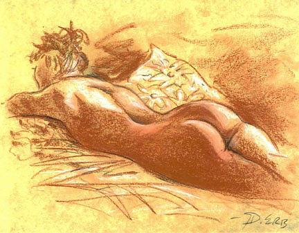 Female Drawing -  Female Backside by David Allen Erb