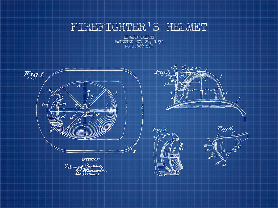 Firefighter helmet patent drawing from 1932 blueprint digital art firefighter digital art firefighter helmet patent drawing from 1932 blueprint by aged pixel malvernweather Gallery