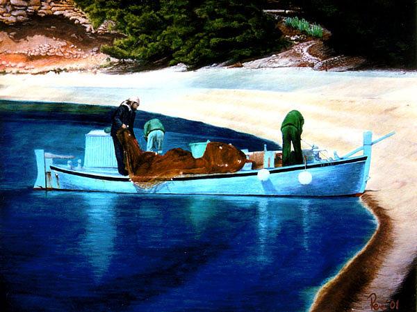 Original Painting -  Fishermen by Branko Reic